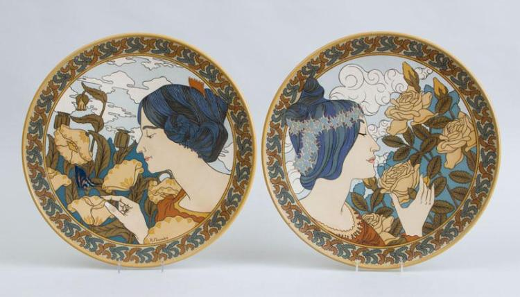 PAIR OF R. FOURNIER, METTLACH ART NOUVEAU POTTERY HANGING CHARGERS