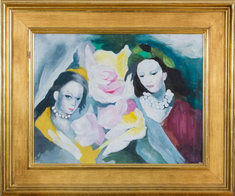 ATTRIBUTED TO MARIE LAURENCIN (1883-1956): TWO WOMEN