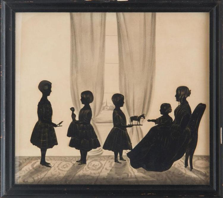 SAMUEL METFORD (1810-1896): SILHOUETTE FAMILY CONVERSATION GROUP AND ANOTHER GROUP