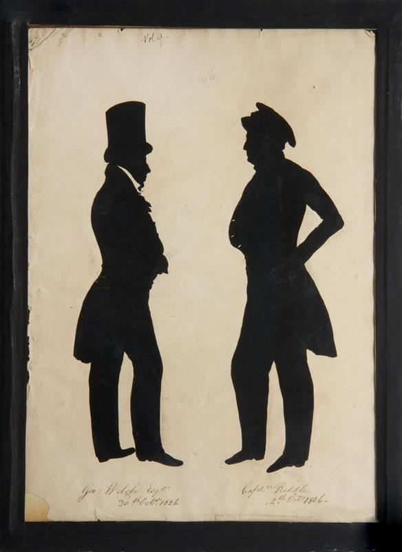 ATTRIBUTED TO AUGUSTE EDOUART: DOUBLE-SIDED PAGE WITH FOUR FULL-LENGTH SILHOUETTES
