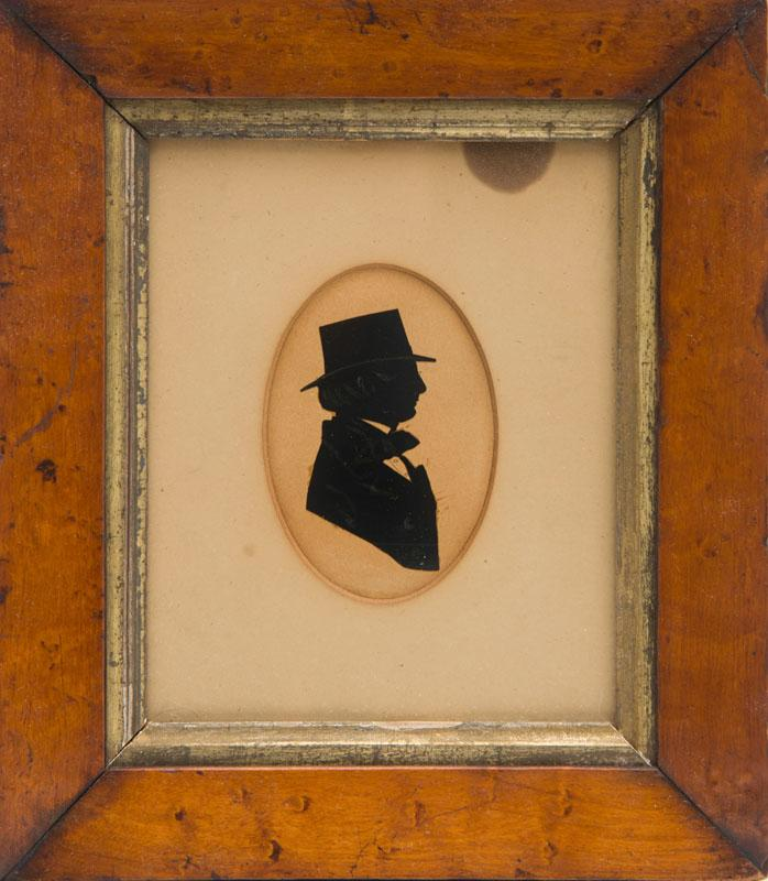 ATTRIBUTED TO MRS. SARAH HARRINGTON: PAIR OF SILHOUETTES OF MR. HATSELLS AND HIS WIFE; A PORTRAIT OF ROBERT ADAIR; AND A PORTRAIT OF...