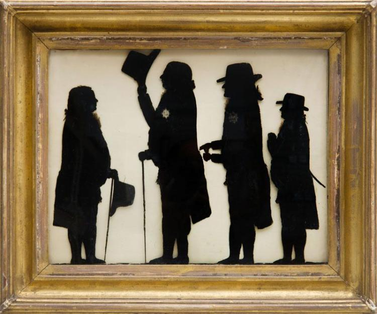 CHARLES ROSENBERG: SILHOUETTE CONVERSATION GROUP; GEORGE III SALUTING LORD CHESLEGH, SIR WILLIAM GORDON AND GENERAL GOLDSWORTHY AND...