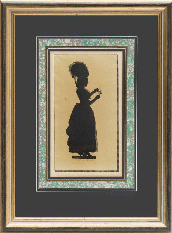 JOSEPH ADOLF SCHMETTERLING: FULL-LENGTH SILHOUETTE OF A LADY HOLDING A ROSE AND FOUR BUST PORTRAITS