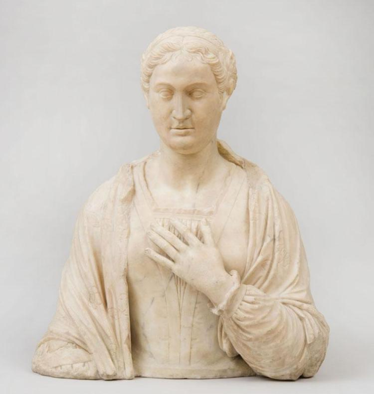ITALIAN SCHOOL, MANNER OF NINO DE FIESOLE: PORTRAIT BUST OF A WOMAN