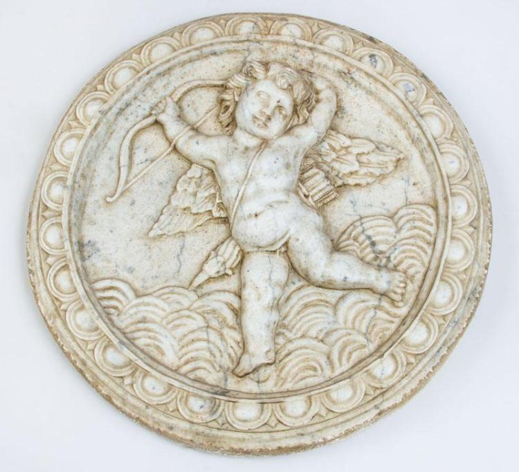 ITALIAN BAROQUE CARVED MARBLE TONDO WITH CUPID