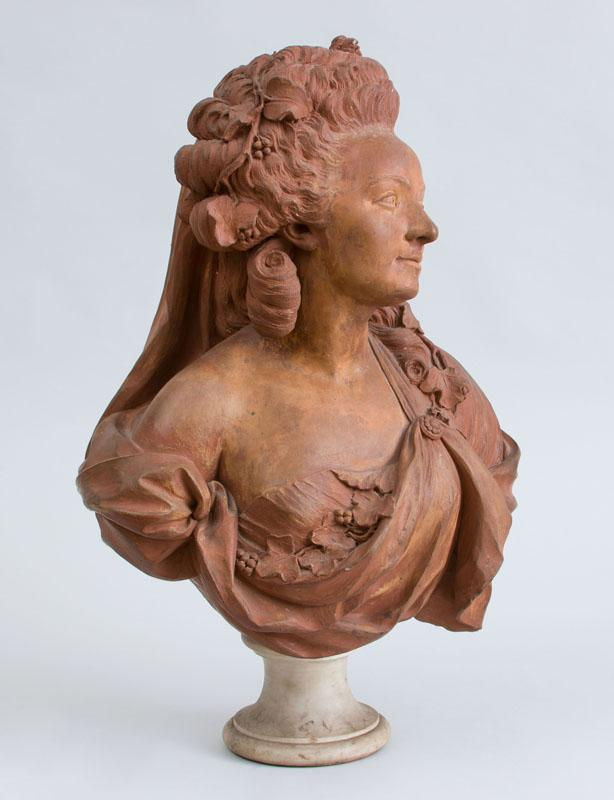 ATTRIBUTED TO ALBERT-ERNEST CARRIER-BELLEUSE (1824-1887): BUST OF AN 18TH CENTURY LADY