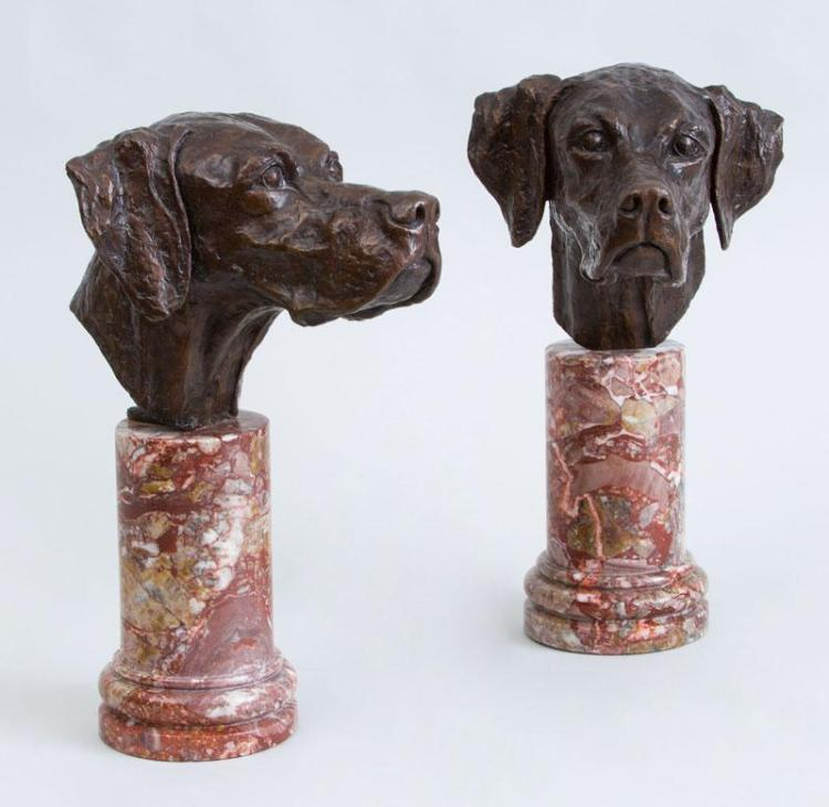 ROBERT WEHLE (1815-1905): HOUND HEADS: A PAIR