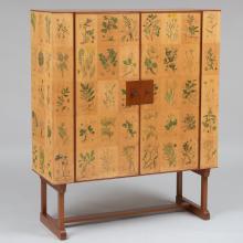 Josef Frank (1885-1967): 'Flora' Printed Paper and Mahogany Cabinet