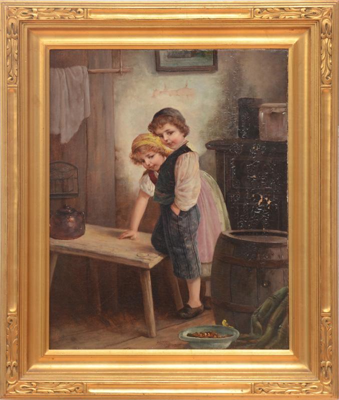 F. TILGNER (1876-1965): TWO CHILDREN IN AN INTERIOR