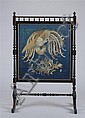 Aesthetic Movement Black Lacquer Trestle Firescreen with Chinese Metallic Thread Embroidered Bird Panel