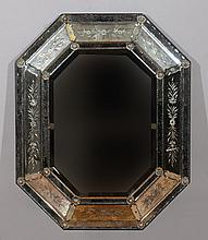 Venetian Baroque Style Etched Glass Mirror
