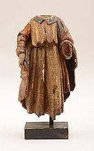 Spanish Colonial Carved, Painted and Parcel-Gilt Figure of a Cleric