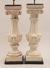 Pair of Ivory-Glazed Pottery Ionic Column-Form Lamps
