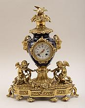 Louis XVI Style Gilt-Metal and Bleu du Roi Enameled Clock
