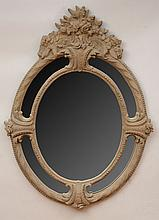 Baroque Style Cast Composition Oval Mirror