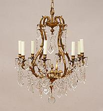 Louis XV Style Gilt-Metal-Mounted Glass Eight-Light Chandelier
