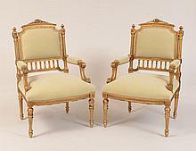 Pair of Napoleon III Giltwood Armchairs