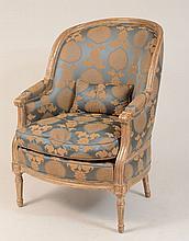 Large Louis XVI Style Silver-Gilt Bergère