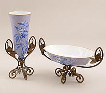 French Gilt-Metal-Mounted Opaline Glass Vase and Matching Centerpiece