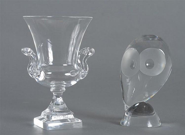 Steuben Glass Owl and a Steuben Campani-Form Urn