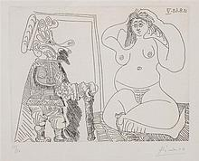 ATTRIBUTED TO PABLO PICASSO (1881-1973): FEMME NUE ASSISE EN TAILLEUR ET GROTESQUE LA MAIN SUR LE COEUR, FROM 347 SERIES (BLOCH 1757...