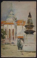 ATTRIBUTED TO NICHOLAI KALMAKOV (1873-1955): VIEW FROM THE STEPS
