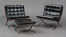 PAIR OF MIES VAN DER ROHE CHROME AND LEATHER