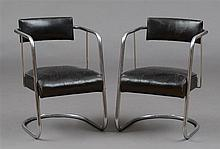PAIR OF MODERN CHROME AND LEATHER UPHOLSTERED ARMCHAIRS