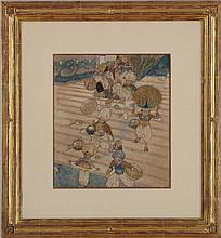 EDMUND DULAC (1882-1953): SHE GAVE ORDERS FOR THE BANQUET TO BE SERVED, FROM THE MAGIC HORSE, IN STORIES FROM THE ARABIAN NIGHTS, LO...