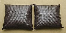 PAIR OF MODERN LARGE LEATHER WOVEN PILLOWS