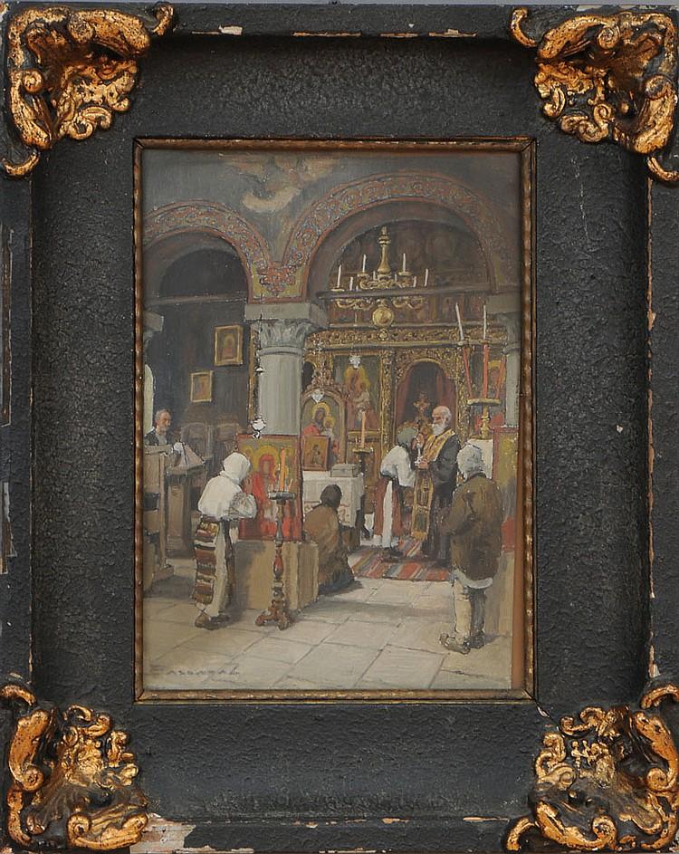 LUDOVIC BASSARAB (1868-1933): CHURCH INTERIOR