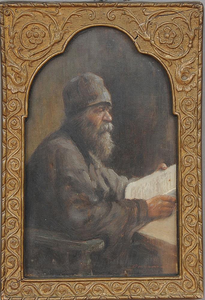 LUDOVIC BASSARAB (1868-1933): OLD MAN READING