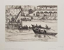 REYNOLDS BEAL (1867-1951): BEACH AT ST. VINCENT; BOAT LANDING, DOMINICA; LANDING STAGE, MONTSERRAT; AND ROSEAU, DOMINICA