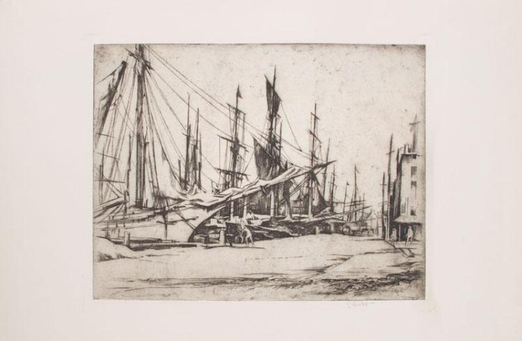 EARL HORTER (1881-1940): OLD PHILADELPHIA; NEW BEDFORD WHALERS; MIDDLE ALLEY; AND THE ANTIQUE SHOP