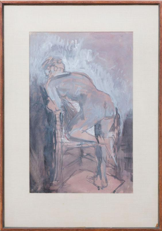 CONCETTA SCARAVAGLIONE (1900-1975): NUDE KNEELING ON A CHAIR