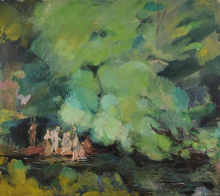 PAUL GEORGES (1923-2002): LANDSCAPE WITH BATHERS