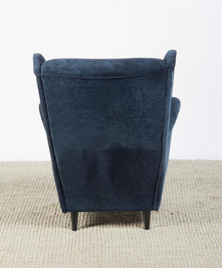BLUE VELVET UPHOLSTERED AND EBONIZED WING CHAIR, IKEA