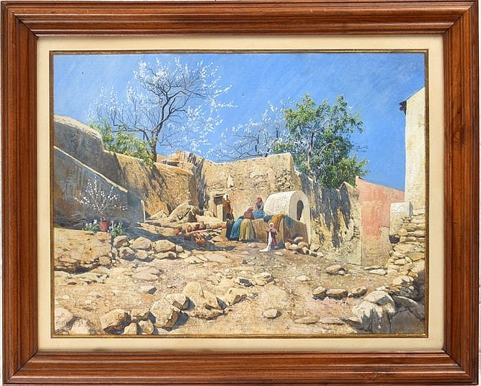 Hans Wilt (Austrian, 1867-1917): Village Scene, Monreale, Sicily