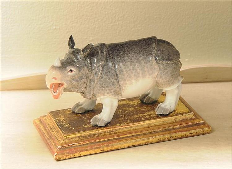 Meissen Style Porcelain Model of a Rhinoceros