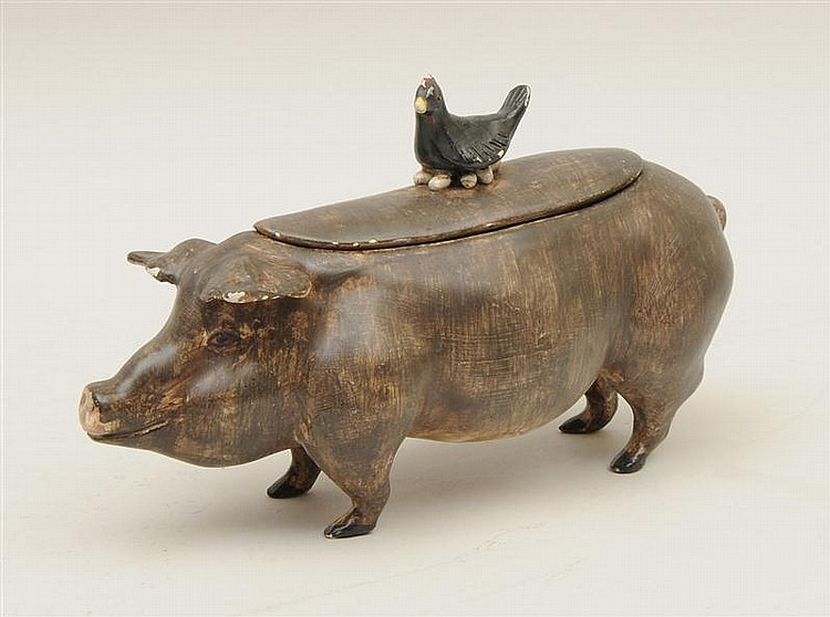 Italian Glazed Pottery Figure of a Pig with a Hen on Its Back