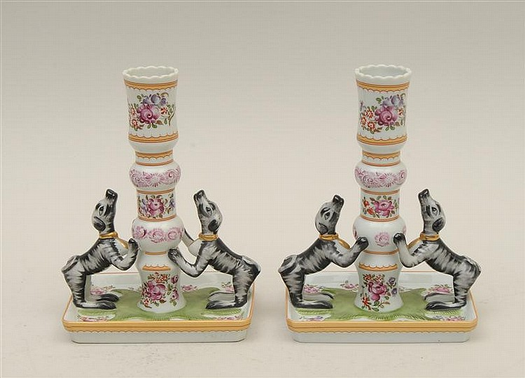 Pair of Mottahedeh Porcelain Dog-Formed Candlesticks