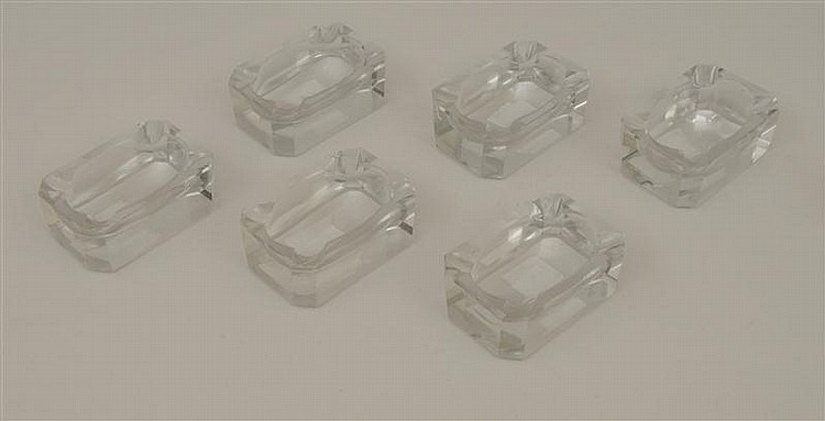 Group of Six Carved Rock Crystal Ashtrays