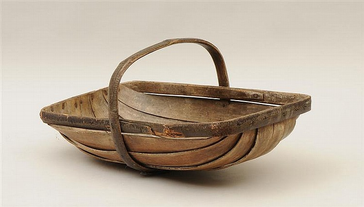 Wooden Farm Basket with Handle