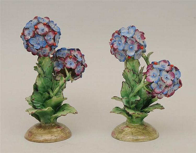 Pair of Italian Glazed Pottery Models of Hydrangeas