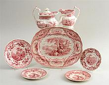 GROUP OF SEVEN STAFFORDSHIRE RED TRANSFER-PRINTED ARTICLES WITH AMERICAN VIEWS