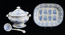STAFFORDSHIRE BLUE TRANSFER-PRINTED TWO-HANDLED TUREEN AND COVER IN THE