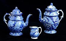 GROUP OF THREE STAFFORDSHIRE DARK BLUE TRANSFER-PRINTED ARTICLES