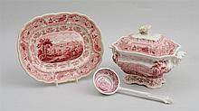 STAFFORDSHIRE RED TRANSFER-PRINTED TUREEN, COVER AND STAND IN THE