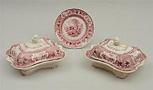 PAIR OF STAFFORDSHIRE RED TRANSFER-PRINTED ENTREE DISHES AND COVERS AND MATCHING PLATE IN THE