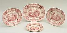 GROUP OF FOUR STAFFORDSHIRE RED TRANSFER-PRINTED GRADUATED PLATTERS PENNSYLVANIA, BY K.E. & CO.